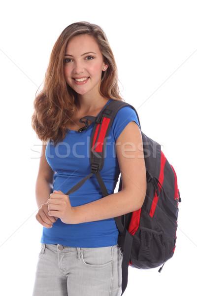 Mosolyog fiatal tinédzser iskolás lány hátizsák gyönyörű Stock fotó © darrinhenry