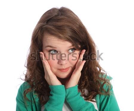Grand yeux bleus étonné brunette adolescent fille Photo stock © darrinhenry