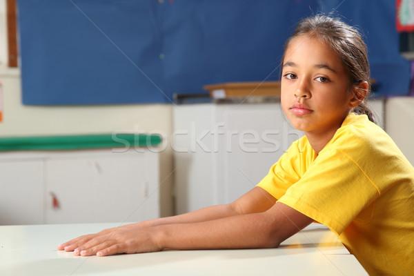 Iskolás lány 10 pálmafák lefelé karok ki Stock fotó © darrinhenry