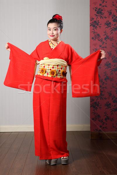 Távolkeleti modell japán kimonó nagy hagyományos Stock fotó © darrinhenry