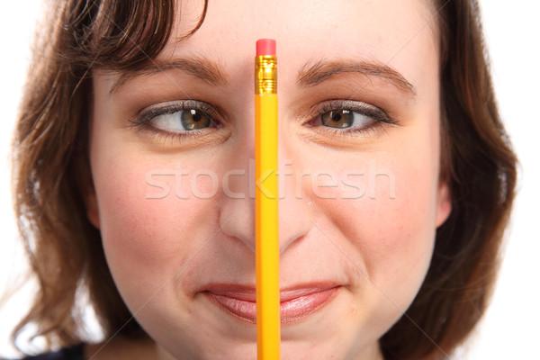Divertimento momento ragazza matita occhi giovane ragazza Foto d'archivio © darrinhenry
