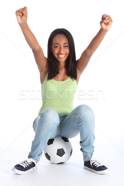 Teenage sports girl celebrates soccer success Stock photo © darrinhenry