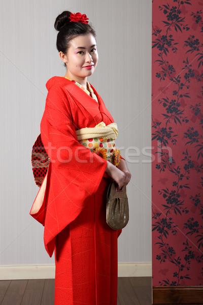 Japan traditional kimono on pretty asian woman Stock photo © darrinhenry