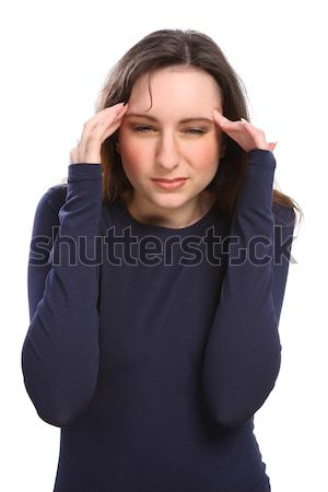 Young woman hands to temples with painful headache Stock photo © darrinhenry