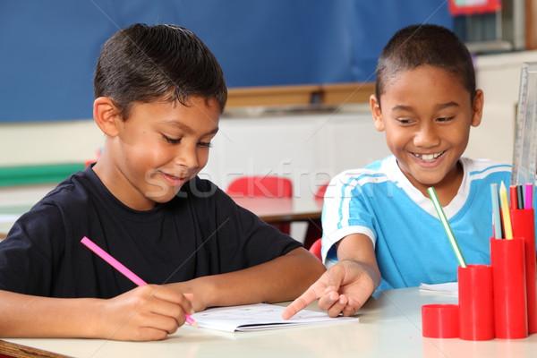 Deux heureux école garçons Photo stock © darrinhenry