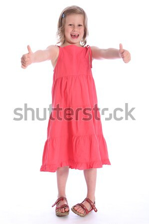Six year old happy school girl success hand sign Stock photo © darrinhenry