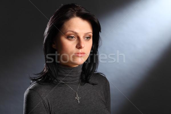 Zamyślony młoda kobieta piękna zielone oczy młodych Zdjęcia stock © darrinhenry