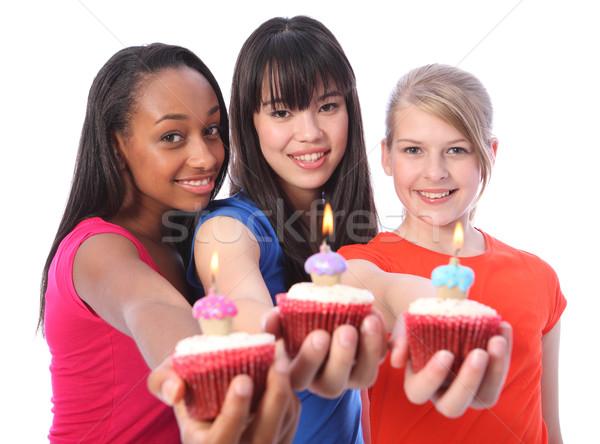 Stock foto: Geburtstag · Kuchen · gemischte · ethnischen · Feier