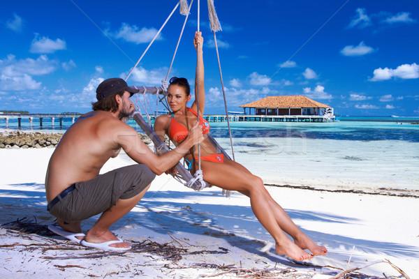 пару Мальдивы романтические пляж Сток-фото © dash