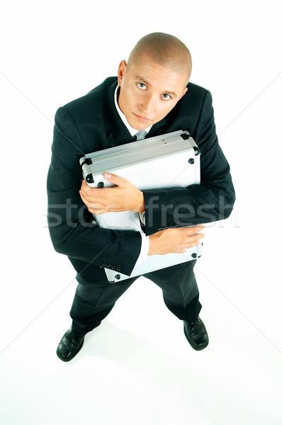 Stok fotoğraf: Işadamı · genç · mavi · kravat · beyaz · gömlek