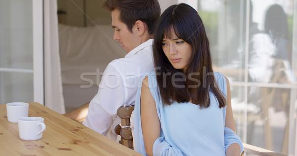 Mérges pár ül hát asztal fiatal Stock fotó © dash