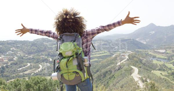 Kifejező boldog utazó hátulnézet fiatal nő Stock fotó © dash