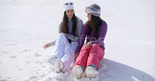 Stockfoto: Twee · jonge · vrouwen · vergadering · sneeuw · kant