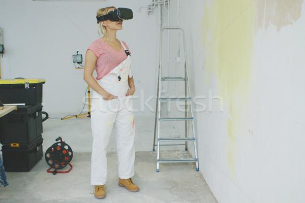 Сток-фото: женщины · художника · виртуальный · реальность · гарнитура