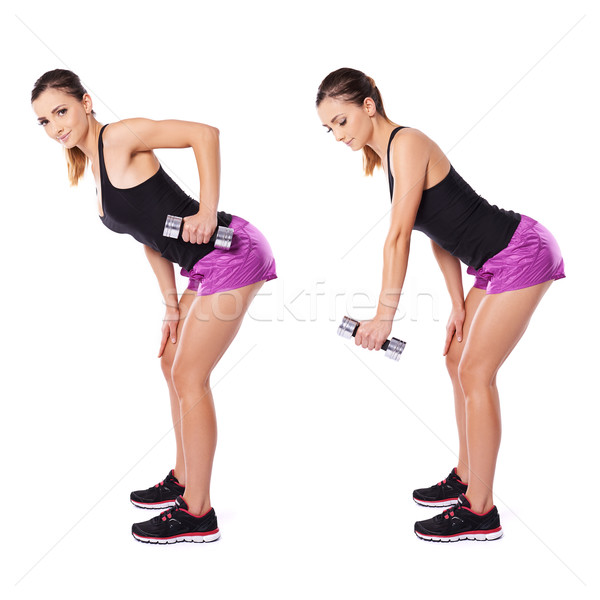 Stock photo: Woman working out with dumbbells