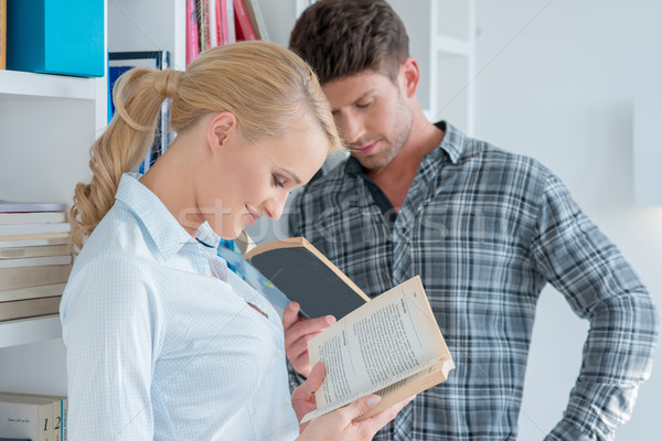 Close up Middle Age Partners Reading Novels Stock photo © dash