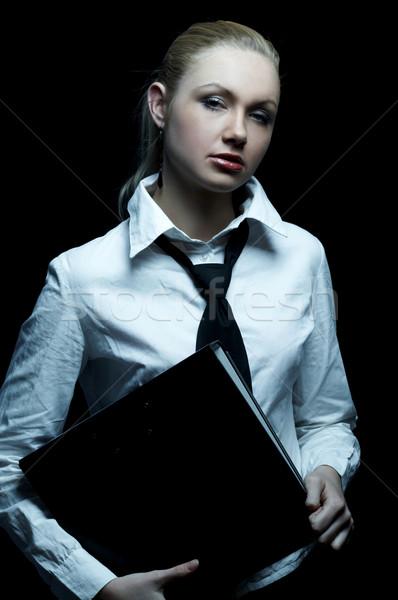 Foto stock: Preto · negócio · belo · mulher · de · negócios · amarrar
