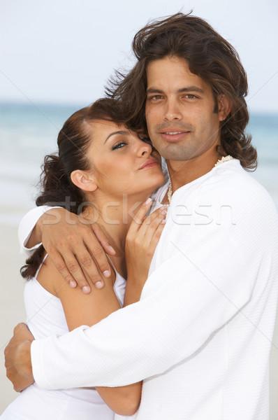 Romantyczny para czasu plaży dziewczyna Zdjęcia stock © dash