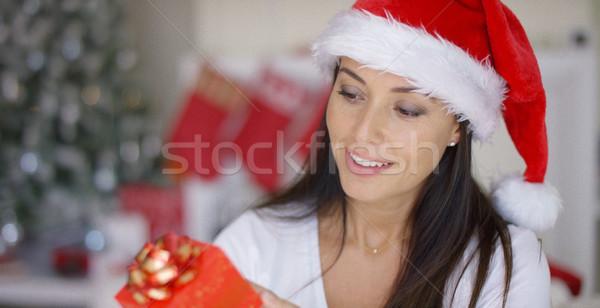 Karizmatikus fiatal nő tart karácsony ajándék vonzó Stock fotó © dash