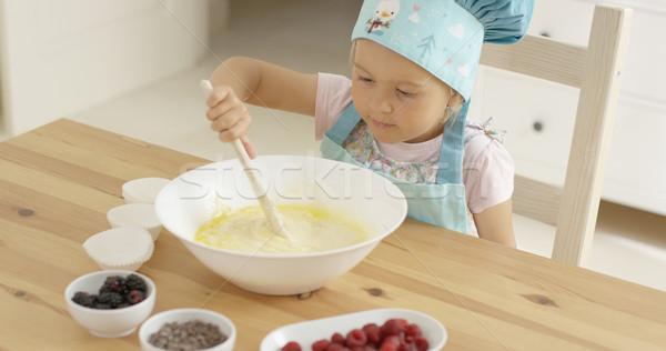 Liebenswert Kleinkind Schüssel groß blau Stock foto © dash