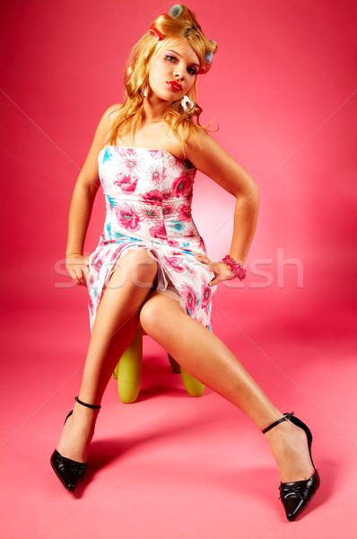 Vrouw mooie vrouw vrouwen gelukkig schreeuw jeugd Stockfoto © dash