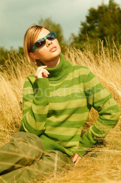 Stok fotoğraf: Kadın · dağlar · açık · havada · genç · iş · kadını · rahatlatıcı