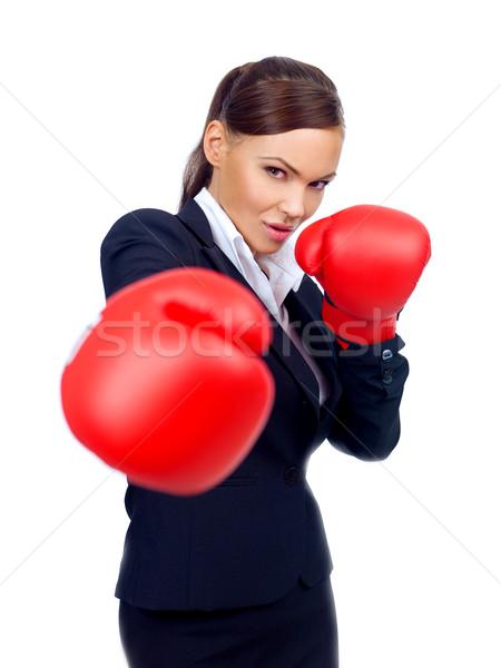 Határozott üzletasszony dob elegáns visel piros Stock fotó © dash