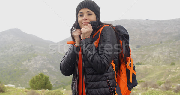 Young active woman hiking in winter Stock photo © dash