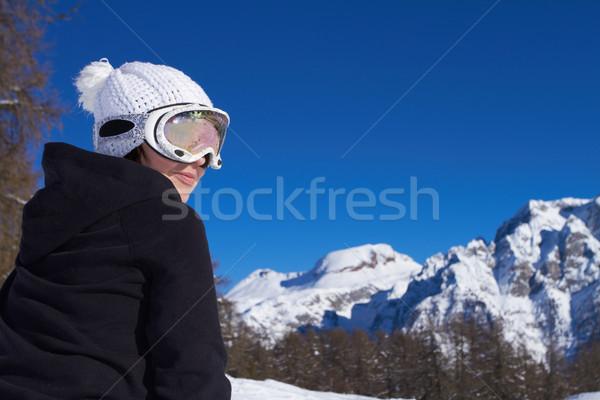 Femminile snowboarder ritratto indossare occhiali donna Foto d'archivio © dash