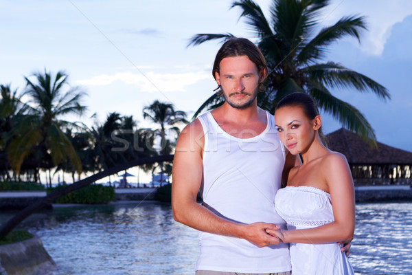 Paar palmboom romantische permanente water boom Stockfoto © dash