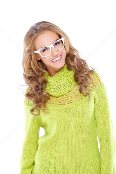 Szczęśliwy kobieta żółty zielone rękaw shirt Zdjęcia stock © dash