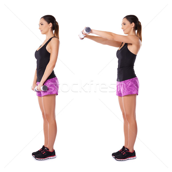 Woman working with dumbbells Stock photo © dash