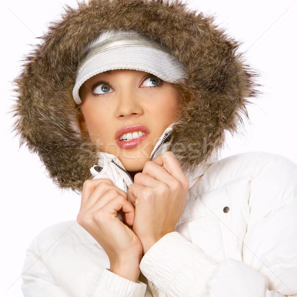 Szőr portré gyönyörű nő visel kapucnis tél Stock fotó © dash