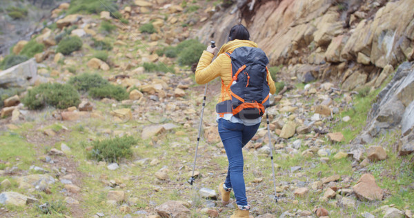 Rear view of an active female hiker Stock photo © dash