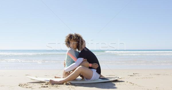 カップル サーフボード 男 女性 座って ストックフォト © dash