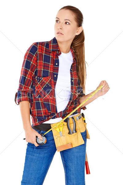 счастливым женщину инструментом пояса талия Сток-фото © dash