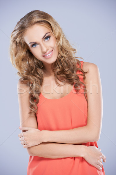 Pretty Woman in Dark Peach Sleeveless Top Stock photo © dash