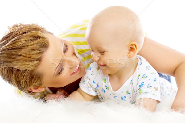 Mutter Sohn jungen anziehend Küssen cute Stock foto © dash