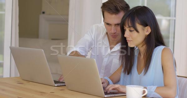 Férfi nő dolgozik laptop számítógépek együtt Stock fotó © dash