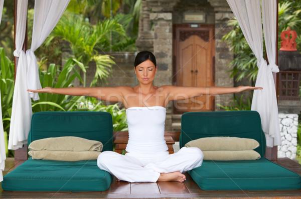 Czasu relaks rok portret kobiety jogi egzotyczny Zdjęcia stock © dash