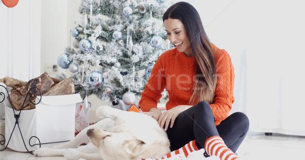 Young woman having fun with her golden labrador Stock photo © dash