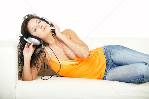 Stok fotoğraf: Dinlemek · müzik · genç · güzel · mutlu · kadın