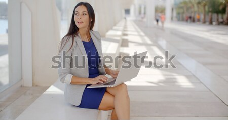 Woman sitting on a waterfront bench using a laptop Stock photo © dash