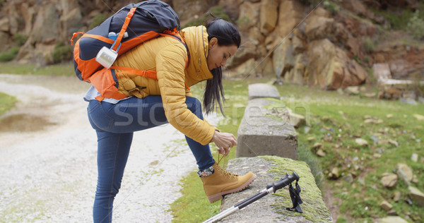 Female hiker tying her laces Stock photo © dash