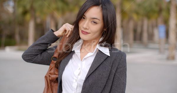 Genç kadın çanta omuz yetişkin Asya Stok fotoğraf © dash