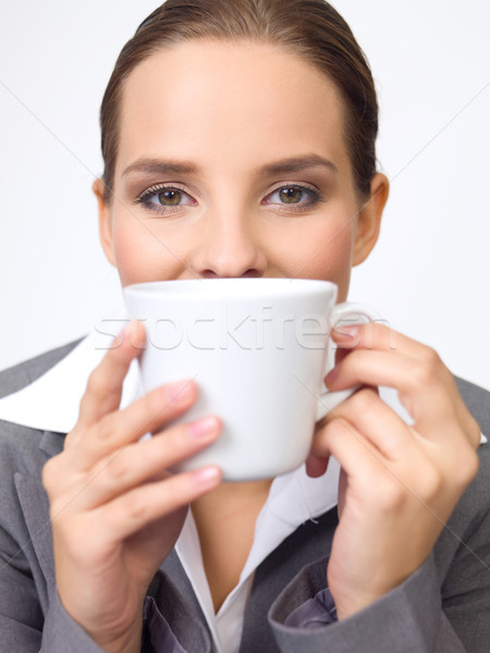 Bonitinho mulher de negócios retrato belo jovem xícara de café Foto stock © dash