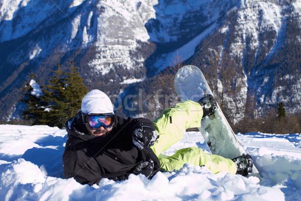 Snowboarder maschio neve riposo cielo Foto d'archivio © dash