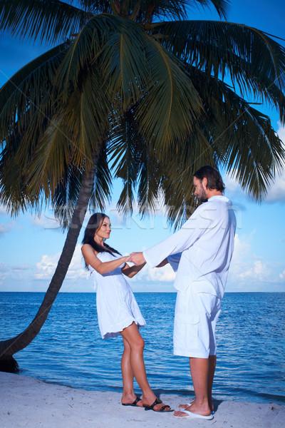 Paar palmboom romantische permanente vrouw water Stockfoto © dash