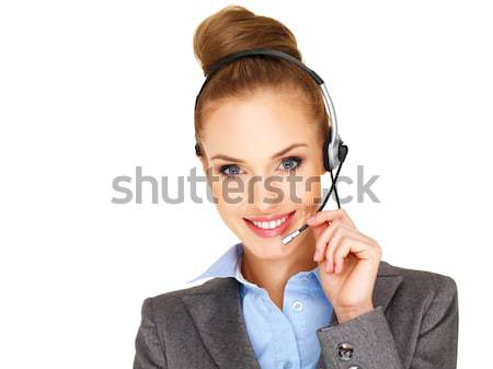 Hermosa recepcionista secretario sonriendo call center operador Foto stock © dash