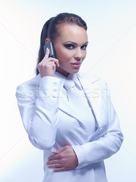 Városi üzlet portré üzletasszony visel fehér Stock fotó © dash